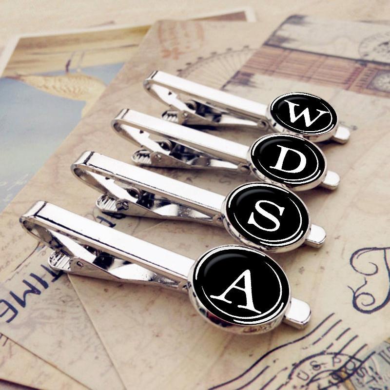 26 буква алфавита Клипы Мужчина Мода Имя Tie Pin Bar Застежка клип галстук украшение костюм аксессуары