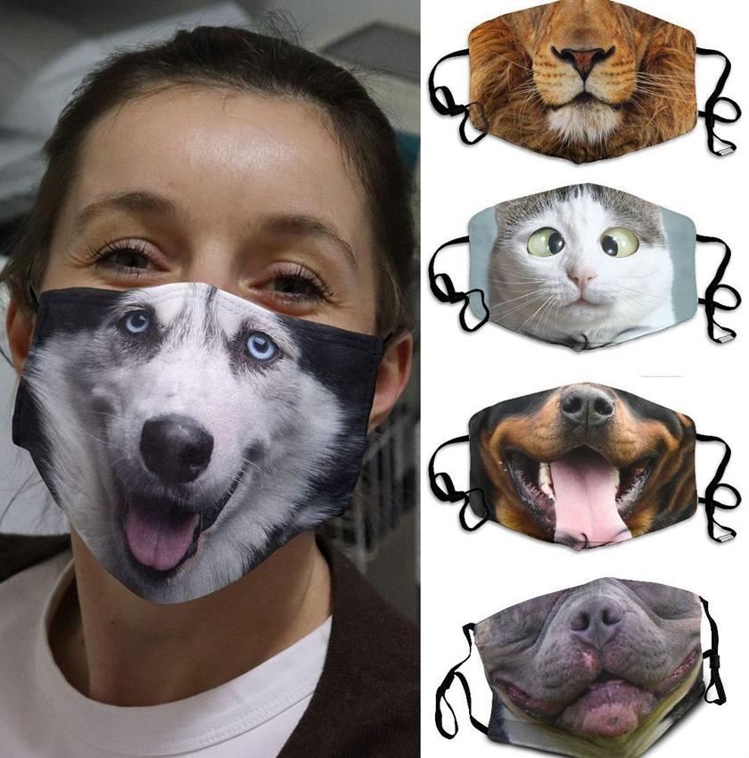 Komik Yüz Noel hediyesi maskesi LJJK2429 Koruyucu Örtü hayvan baskı Yıkanabilir Yeniden kullanılabilir Yetişkin Unisex tasarım maskeleri Maske 3D-Print