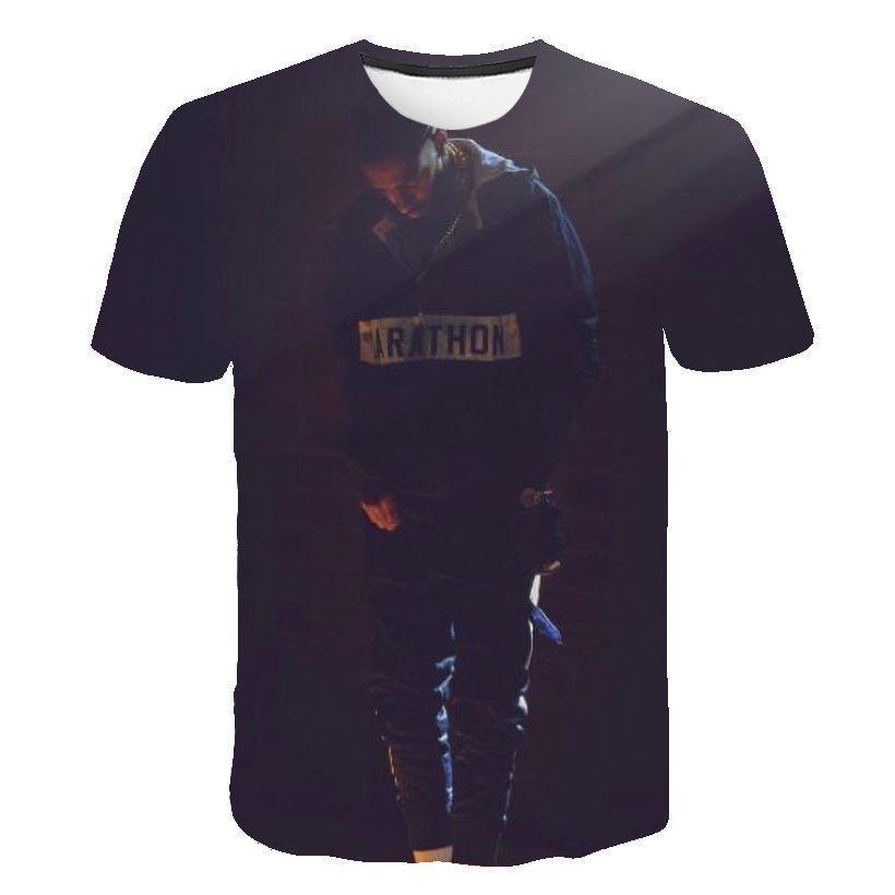 Nipsey koşuşturmasından Erkek Tasarımcı tişörtleri 3D Dijital Kısa Sleeve Rapçi Erkek O-Boyun Tshirts Gençler Tasarımcı Giyim