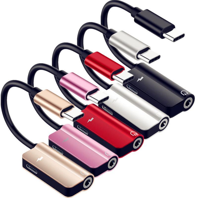 3.5mm Jack Adaptörü için Samsung Xiaomi LETV andriod telefona Kablo Adaptörü Hattı Usb C Şarj etmek Audio c 2'de 1 Türü