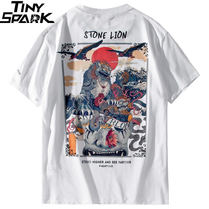 2019 Harajuku T Shirt Men Hip Hop Футболка Каменный лев китайский Streetwear лето Tshirts с коротким рукавом Хлопок Топы Тис Hipster Новый T200716