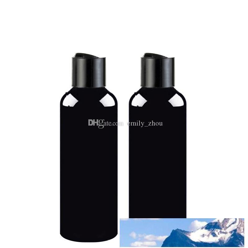 100ml 150ml 200ml 250ml 300ml Leere Shampoo-Behälter mit schwarzer Scheibe Top-Kappe, schwarze PET-Flasche Pressdeckel, kosmetische Verpackung, Shampoo-Flasche