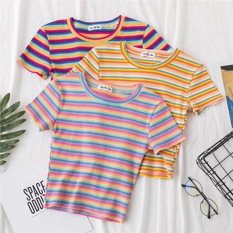 100% Cotton New T Shirt Women Rainbow Striped Tops Slim Fit T Shirt Harajuku Tshirt Summer Short Sleeve Korean T Shirt Feminina