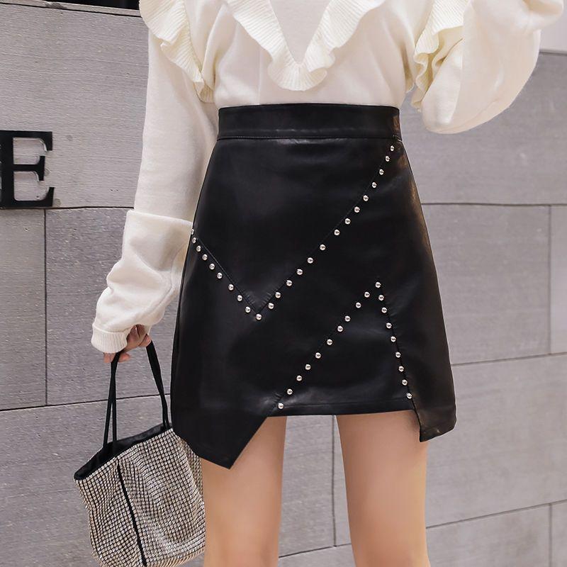 Etekler Yüksek Bel Kadınlar Mini Deri Düzensiz Perçin Etek Ince Siyah PU Kadın Kısa Bahar Sonbahar Moda Zarif Lady Q85
