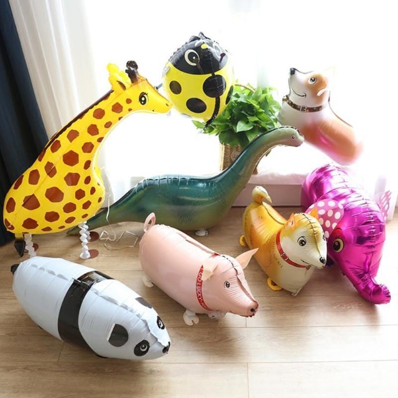 Hayvan HELIUM Balonlar Sevimli Kedi Köpek Panda Dinozor Tiger Pet Hava Balon Doğum Parti Süsleri Çocuklar ve Yetişkin Walking Karışımları