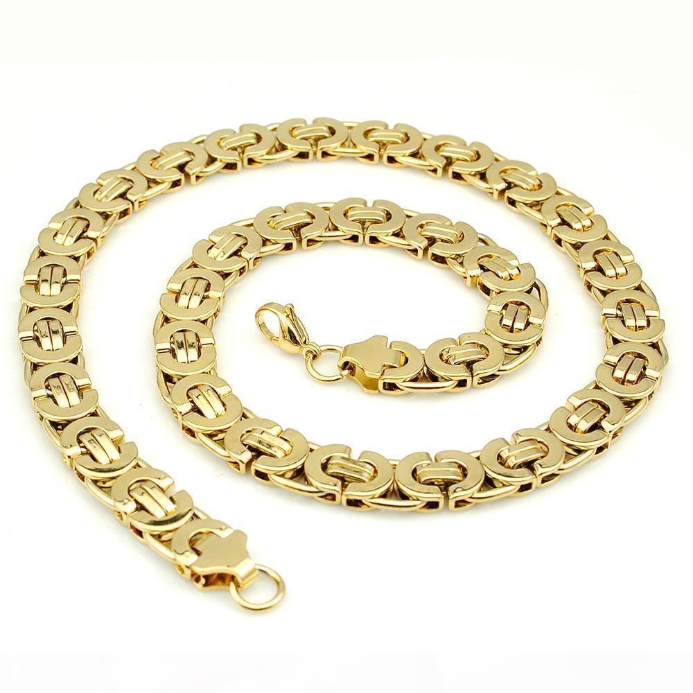 AMUMIU 11mm Oro enorme cadena pesada largos de acero inoxidable bizantino hombres collar de la joyería de acero inoxidable 316L de oro KN016