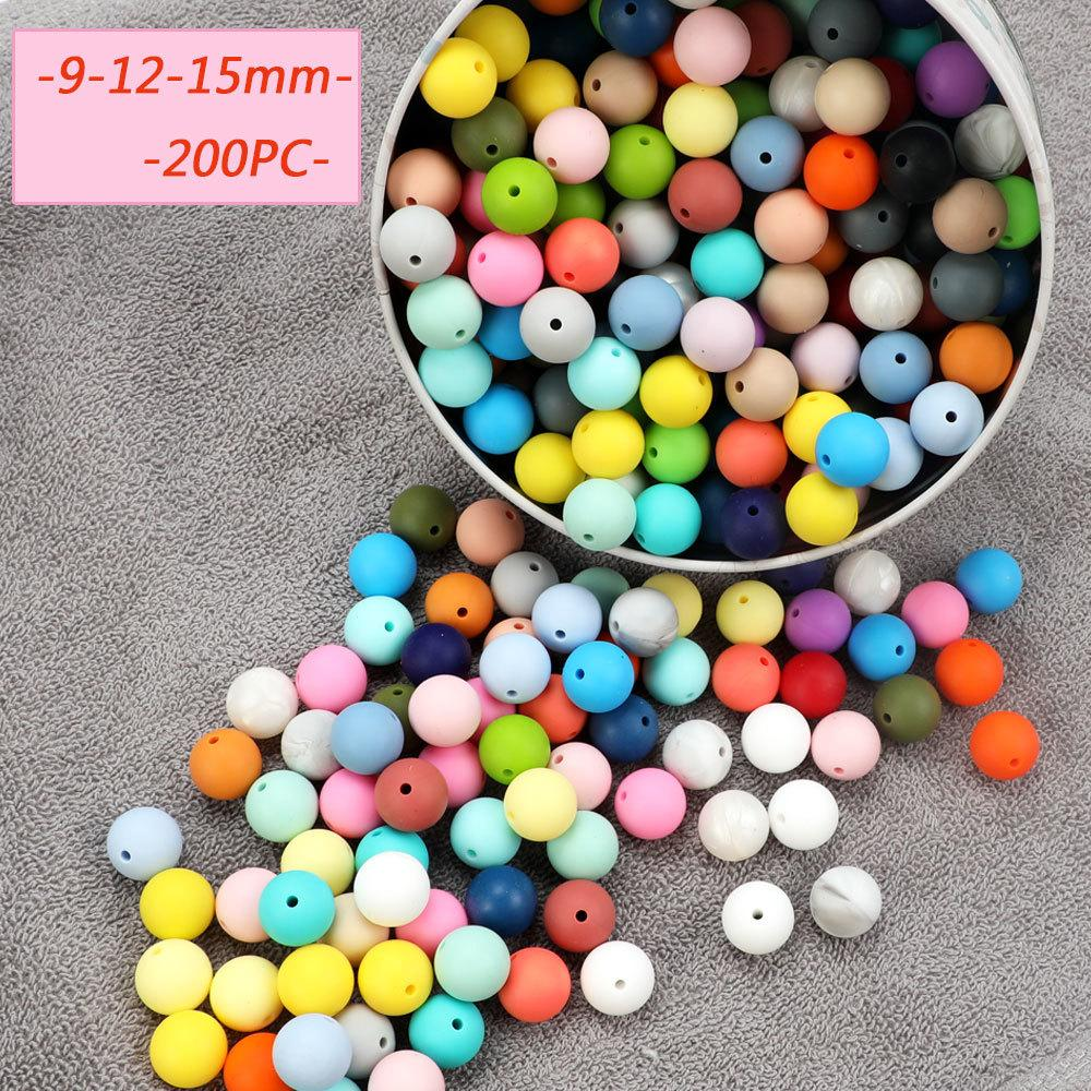 TYRY.HU 200pc Perles silicone 9 mm 12 mm 15 mm qualité alimentaire silicone bébé Teething Toy Bouchées clips Pacifier soins infirmiers Collier BPA T200730