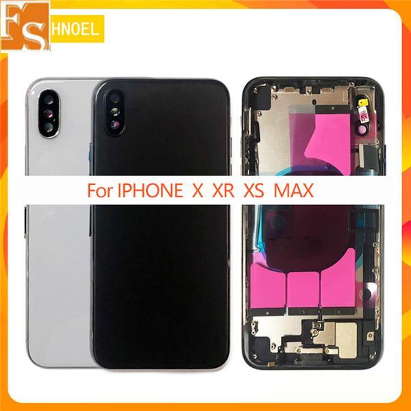 Vivienda completa del chasis del marco medio trasero de alta calidad con el conjunto de cables flexibles de piezas para iPhone 8 8PLUS X XR XS Max Funda trasera con tarjeta SIM