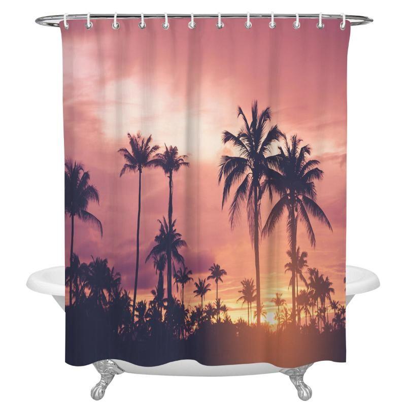 Best Shower Curtains Tropical Palm, Palm Tree Shower Curtains Bath Accessory Sets