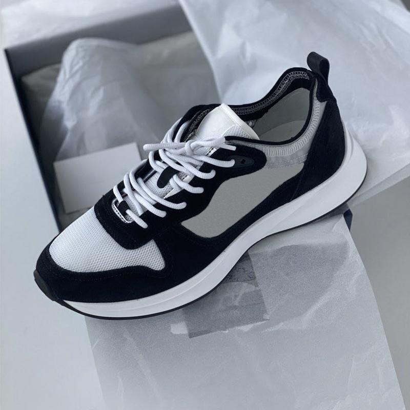 Scarpe di alta qualità B25 Oblique Runner Sneaker piattaforma Uomini Basse Mesh e mens Lace-up vero e proprio tomaia in pelle scamosciata 100% formatori con scatola