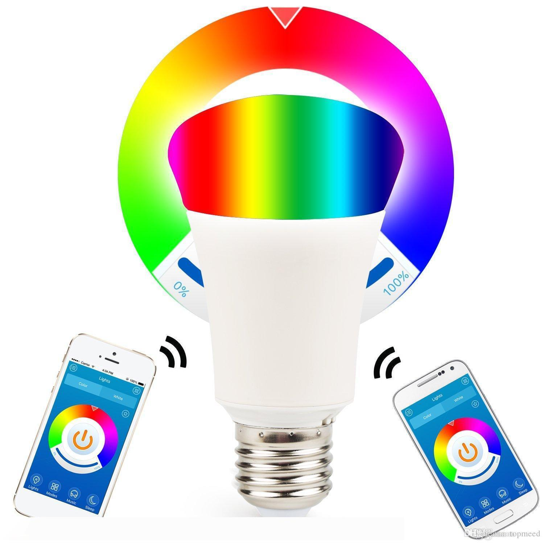 Bluetooth 6W Smartphone Kontrollü Dim Çok Renkli LED Ampul IOS Android Telefon ve Tablet için E26 E27 Işıklar