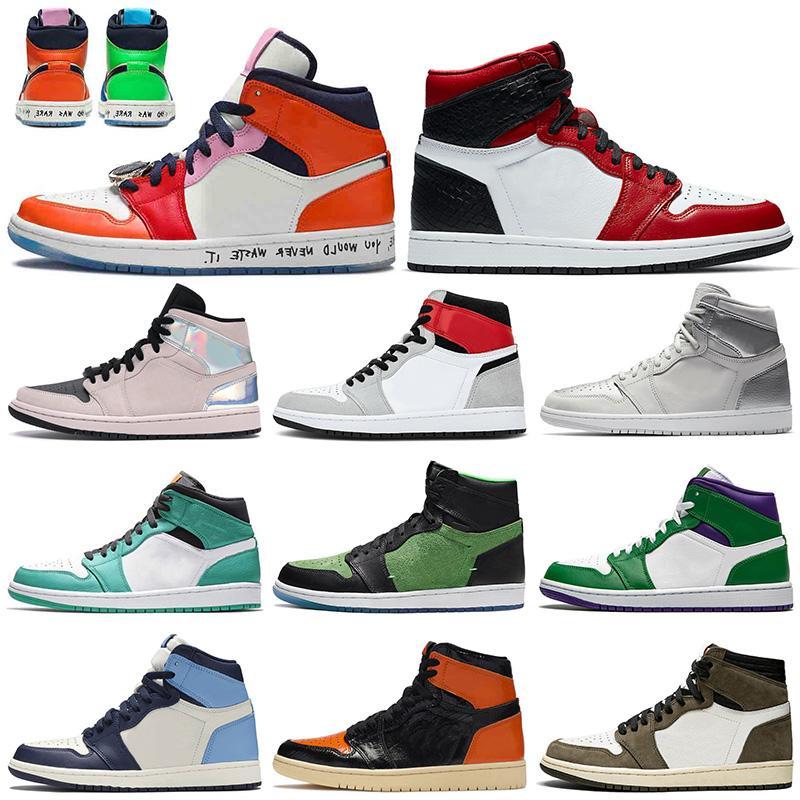 nike air retro jordan 1 1s Nova Jumpman 1 Womens Mens tênis de basquete 1s quebrados encosto 3.0 OG real Toe FEARLESS cetim-Snake mens formadores sneakers