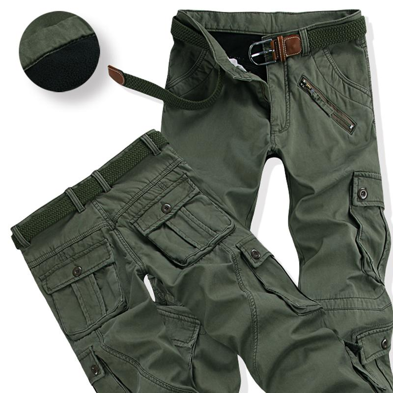 Winter Thicken Fleece Army Cargo Tactical Pants Overalls Men's Cotton Casual Trousers Warm Loose Baggy Joger Pants