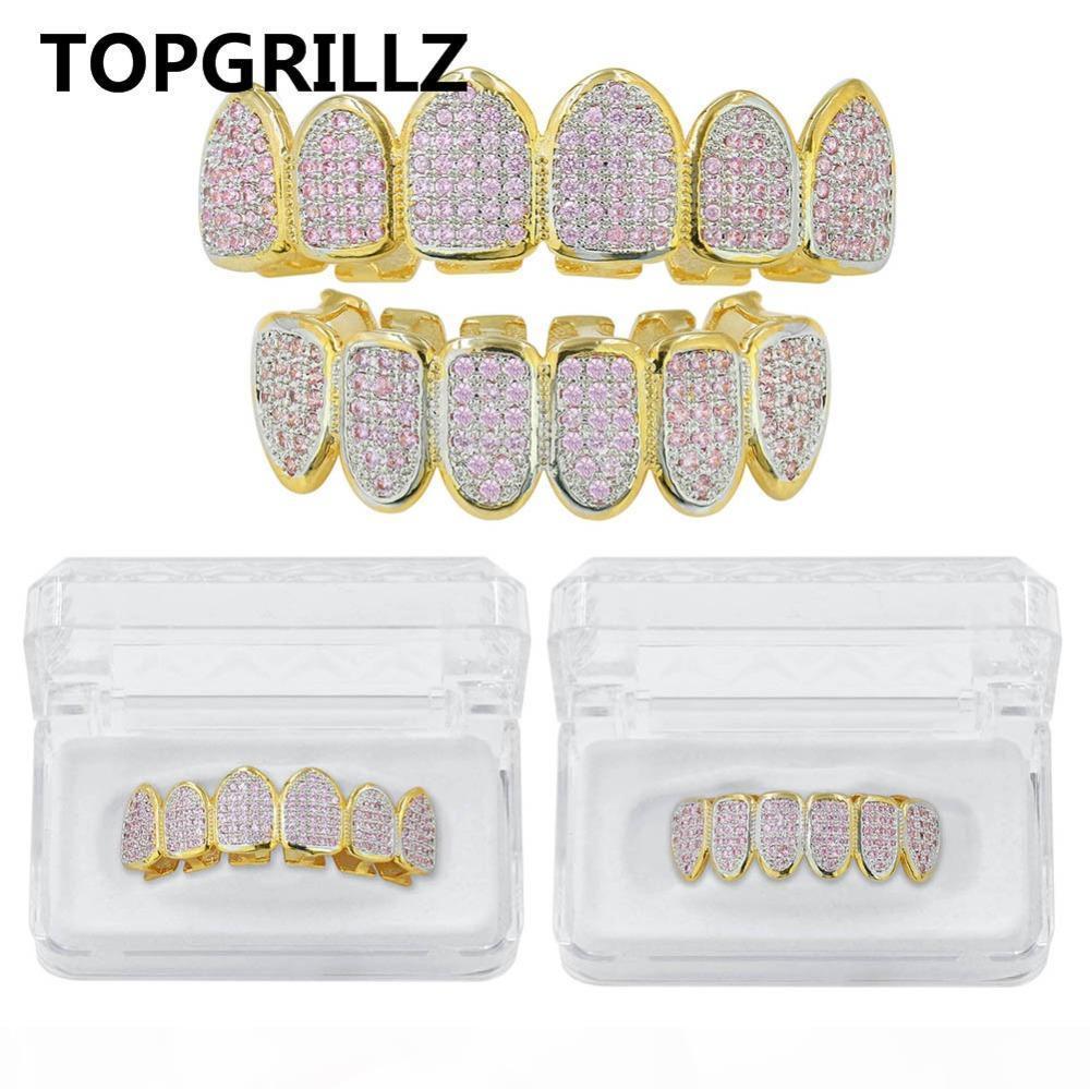 TOPGRILLZ New Custom HipHop Iced Out Fit Goldfarben Rosa Mikro pflaster KubikZircon TopBottom Sets Zähne Grillz Goldener Grill für Weihnachten