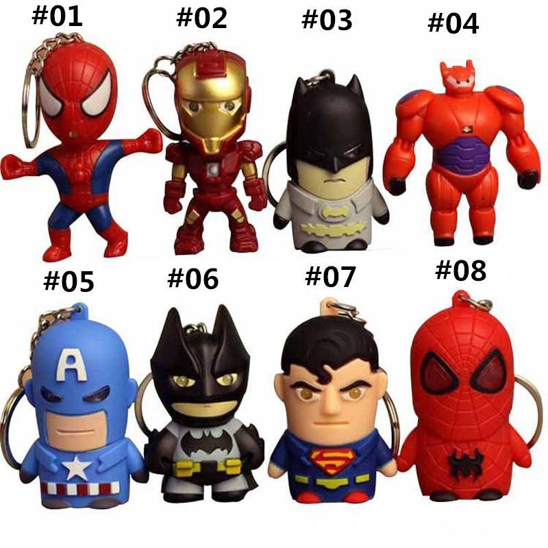 The Avengers sound & light Iron man Captain America spider-man model Pendant LED keychain 3D luminous doll key chain toy