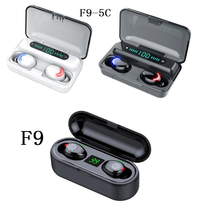 New brand Wireless Earphone Bluetooth V5.0 F9 TWS Stereo Wireless Bluetooth Headphone LED Display With 2000mAh 1200mah Power Bank Headset