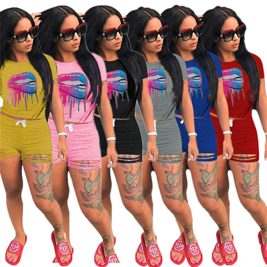 Plus size 3xl Lip printed Two Piece Set Women Summer Sexy burn out Short Sleeve Suit tracksuits Tee Tops Capris Jogger Suit 3161