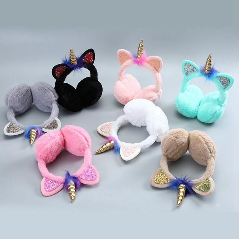 Unicorn Shape Women/Girl Fluffy Earmuffs U Pick Solid Color Winter Warm Soft Plush Earmuffs Ear Warmers Ear Muffs Earlap