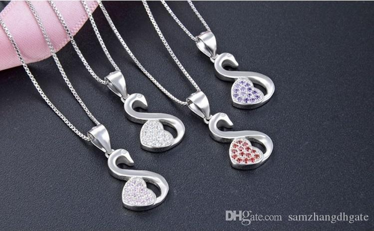 B7 Mixed order top quality women's S925 sterling silver CZ pendants for necklace silver CZ necklace swan silver pendant costume jewelry DD
