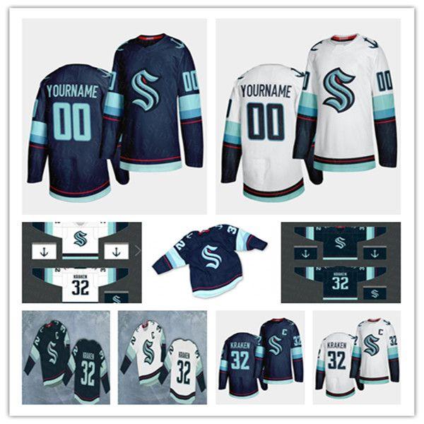 Seattle Krakeneis Eishockey-Trikots Männer Frauen Jugend 16 Luke Henman 22 Jack Flahty Benutzerdefinierte Namenszahl Nähed Uniformen Navy Blue White Größe S-3XL