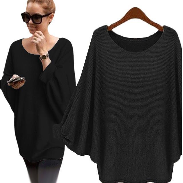 2020 Primavera Otoño cachemira suéteres de las mujeres atractivas de la manera del O-cuello del suéter flojo suéter de lana de la manga del Batwing del tamaño extra grande Pullover # T1G