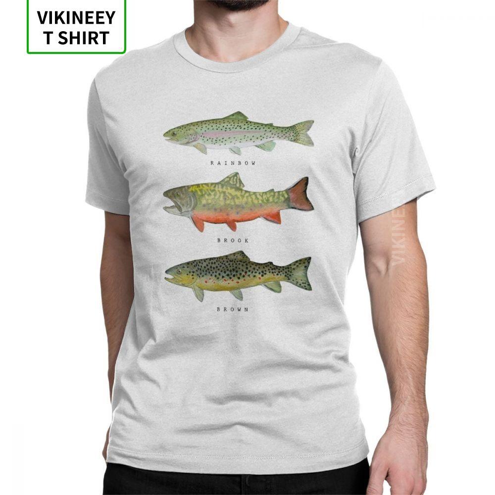 Brown truta arco-íris Triad engraçado T para T-shirt O-Neck Men Peixe Fly Peixe manga curta roupas clássicas Tees 100% Algodão