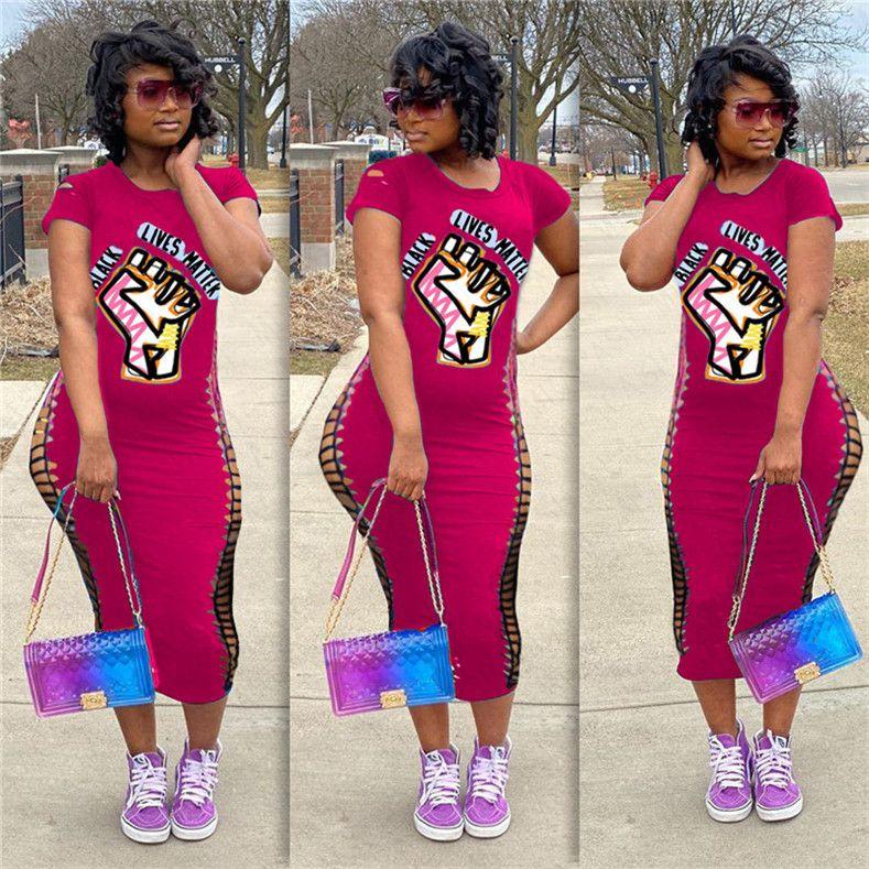 ЧЕРНЫЙ ЖИВЕТ ВЕЩЕСТВО Письма Печать тенниска платье Женщины Сломанный Hole Короткие рукава Bodycon платья тонкий сексуальный One Piece юбки платье НОВЫЙ D71401