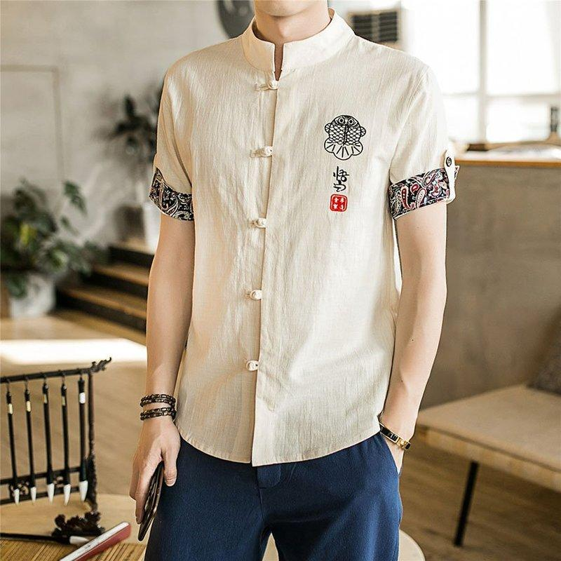 Chinese Shirt 2020 News Summer Embroidery Tangsuit Wushu Male Clothes Vintage Style Traditional Chinese Clothing for Men
