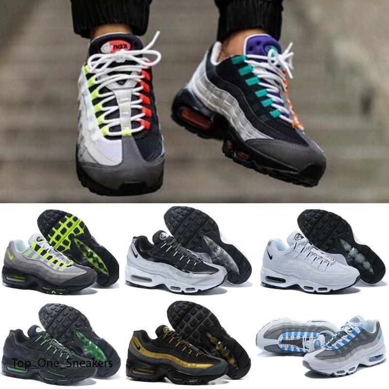 Nike Air Max 95 Üçlü Siyah Beyaz Lazer Fuşya Kırmızı Orbit Aqua neon Womens Eğitmenler Spor Spor ayakkabılar Boyutu 36-45 Bred Koşu Ayakkabıları