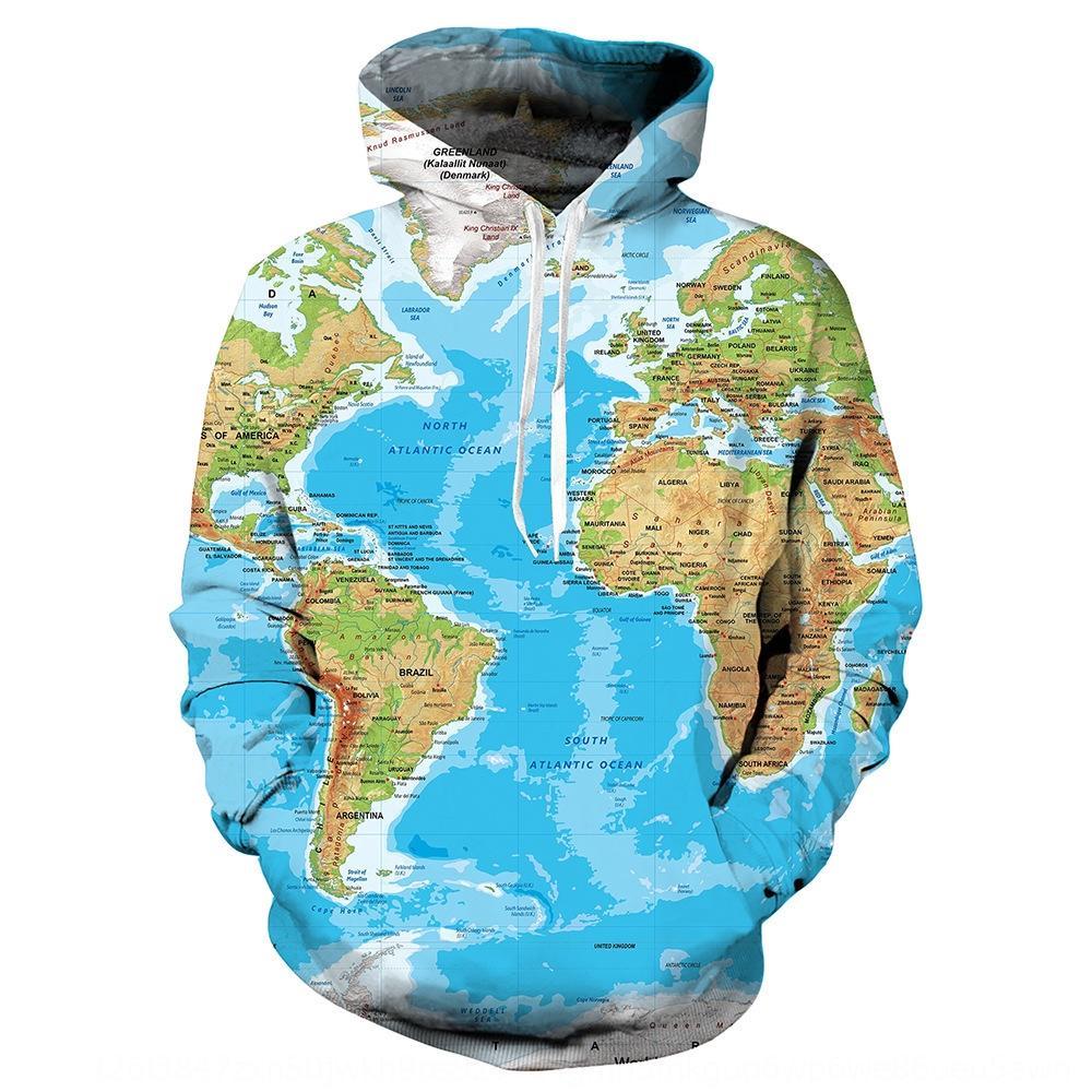 OF38K Welt KarteHoodie 3D Pullover Welt Pullover 3D Kapuzen-Pullover gedruckt Karte Pullover gedruckt