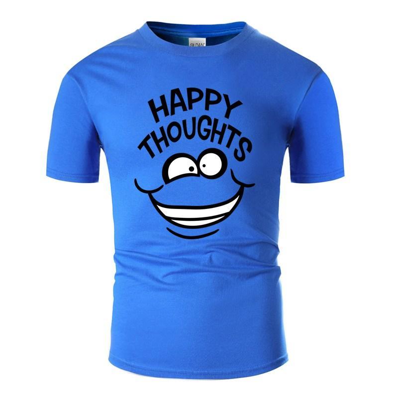 Günlük Mutlu Düşünceler Çılgın Çizgi Karikatür Komik Tasarım Tişört İçin Erkek% 100 Pamuk Mektupları Spor T Gömlek Hiphop Üst