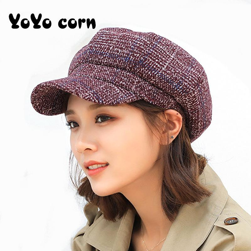 YOYOCORN Kadın sonbahar ve kış yeni edebi kalınlaşma ördek dil şapka bayanlar sekizgen kap gündelik bere örgü