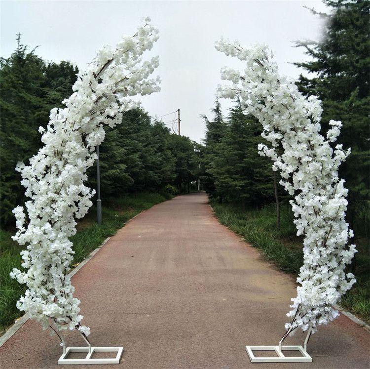 2.5M artificiale cherry blossom strada porta ad arco piombo luna arco di fiori di ciliegio archi mensola arredamento quadrato per sfondo festa di nozze