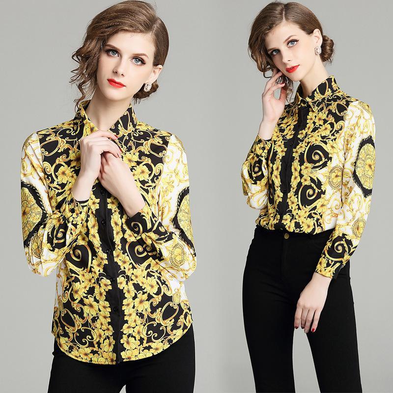 المرأة طويلة الأكمام طباعة البلوزات الأزياء بدوره أسفل الياقة بلوزة قميص عارضة قمم ملابس أنيقة ارتداء قمصان