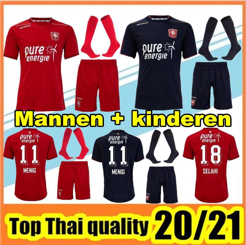 Взрослый Kids Kit 2020 2021 FC Twente Voetbal Jersey Футбол Джерси Главная Рыжий Черный 20 21 Twente Voetbalshir Мужчины Детский Набор Футбольная Рубашка