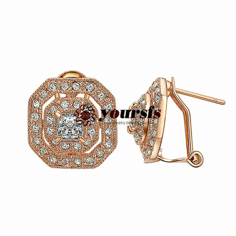 Yoursfs moda jóias 18k banhado a ouro geométrico zircon brincos mulher aniversário presente de aniversário
