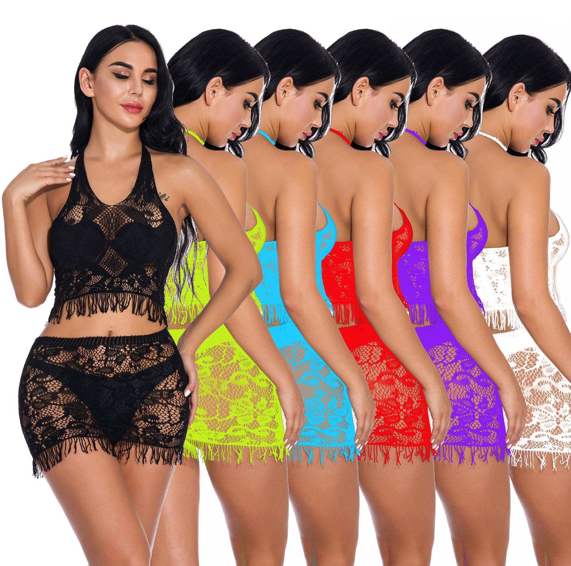 Plus Size femmes sexy en dentelle de nuit Chemises de nuit pour les femmes Ouvert De Nuit Net Voir Trough Deux Sexy pièces Ensembles Taille gratuit