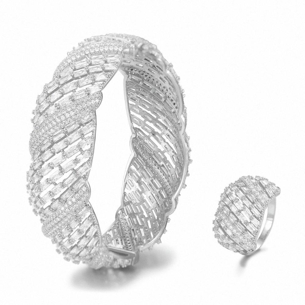 LARRAURI 2ST Armband / Ring Set koreanische afrikanische Schmucksachen für Frauen Hochzeit Verlobung Brincos para als mulheres 2019 22cN #