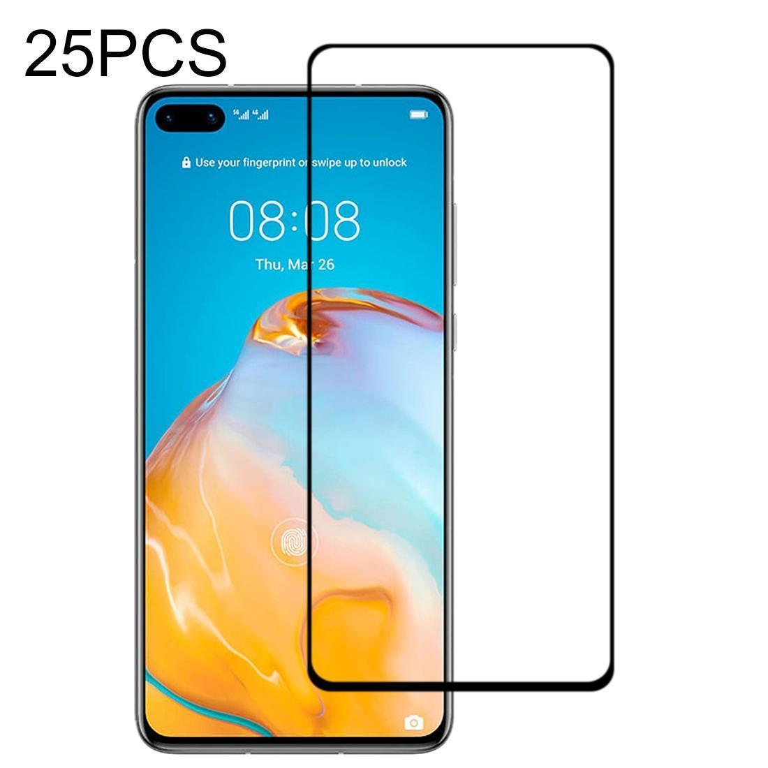 25 ADET 9H yüzey sertliği 2.5D Tam Tutkal tam ekran temperli cam film için Huawei P40