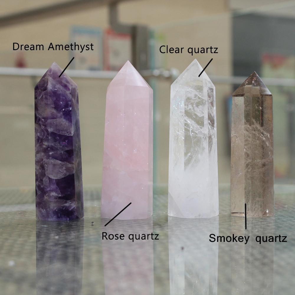 100% Natural Crystal Prism Six Prism Single Point Magic Wand rose quartz .clear quartz .smokey quartz.amethyst 10-11cm