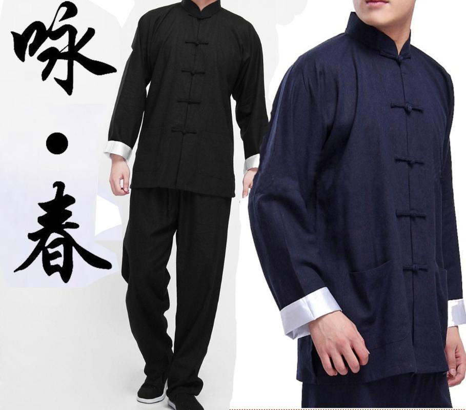 2adet Çin Wing Chun dövüş sanatları Tai Chi Üniforma Bruce Uzun Kollu ShirtPants Pantolon büyük boy 2colors Takımları