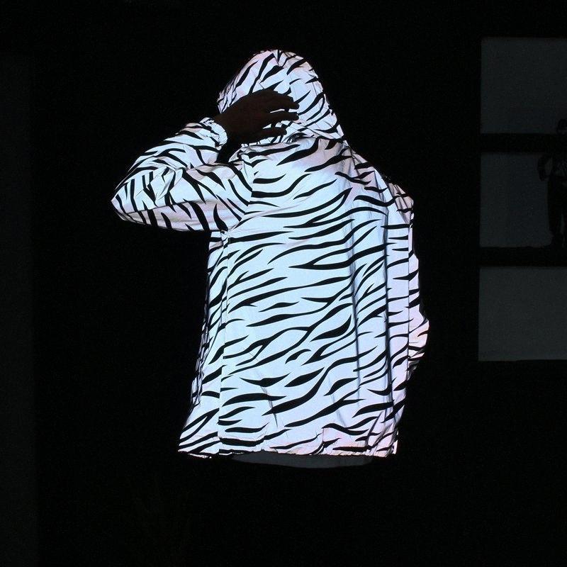 New Men Leopard Zebra Reflective noite que brilha com capuz jaqueta corta-vento Hip Hop Streetwear Harajuku Homens Waterproof Hoodie Coats bZ3i #