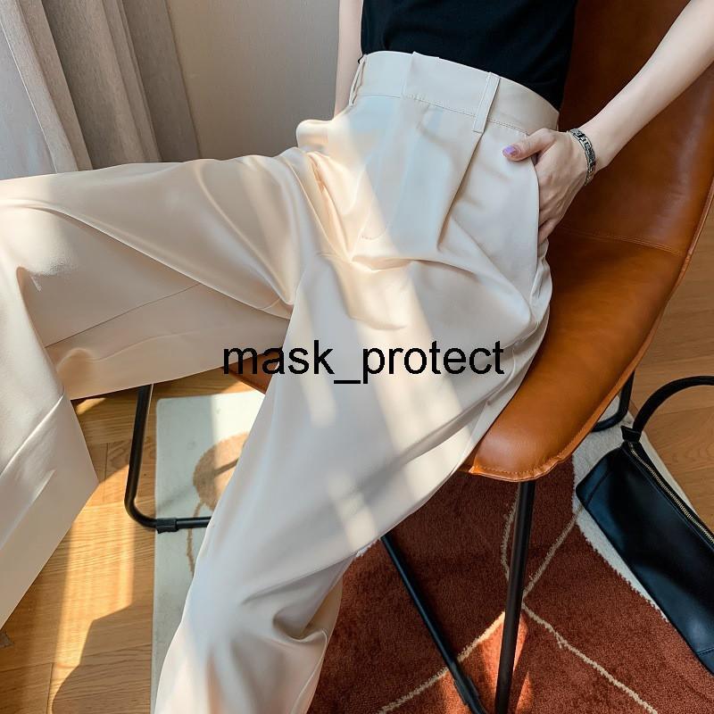 Новые высокого класса имитация ацетатный шелк сатин широкий ноги брюки вертикальной чувство искусственного шелка потерять длинные швабры брюки высокой талии прямая трубка тонкая