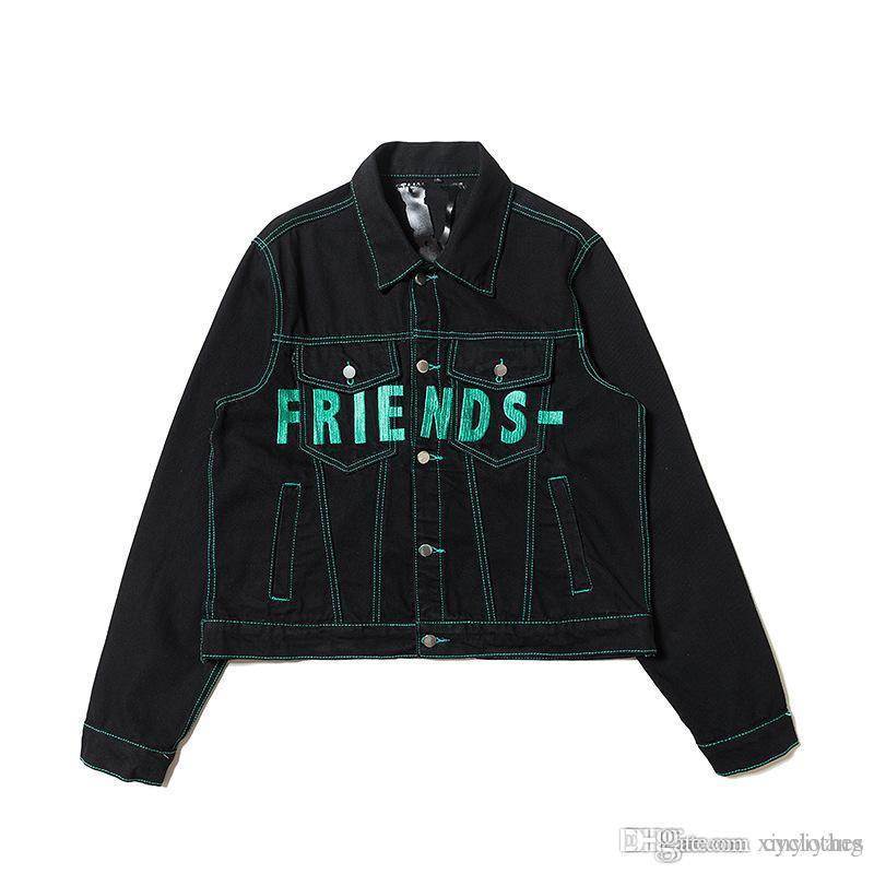 Newest Women Back Letter Embroidery Black Denim Jacket Teenager Retro Denim Sport Hip Hop Letter Denim Jacket