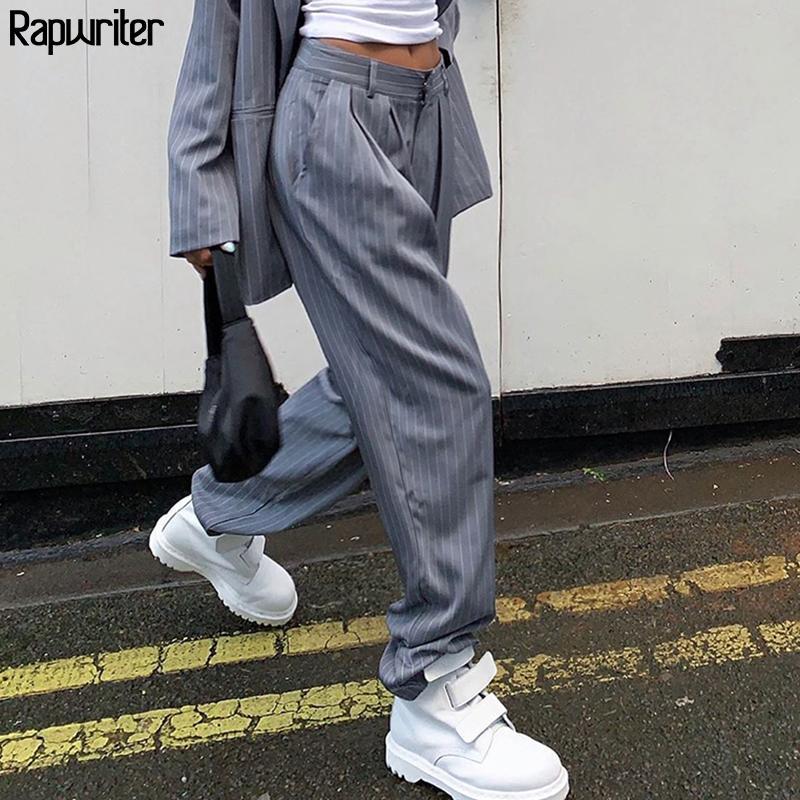 Rapwriter hohe Taillen-weiß gestreiften Hosenanzug Hosen Frauen 2020 Street gerade Hose harajuku lose Graue Hose Taschen T200727