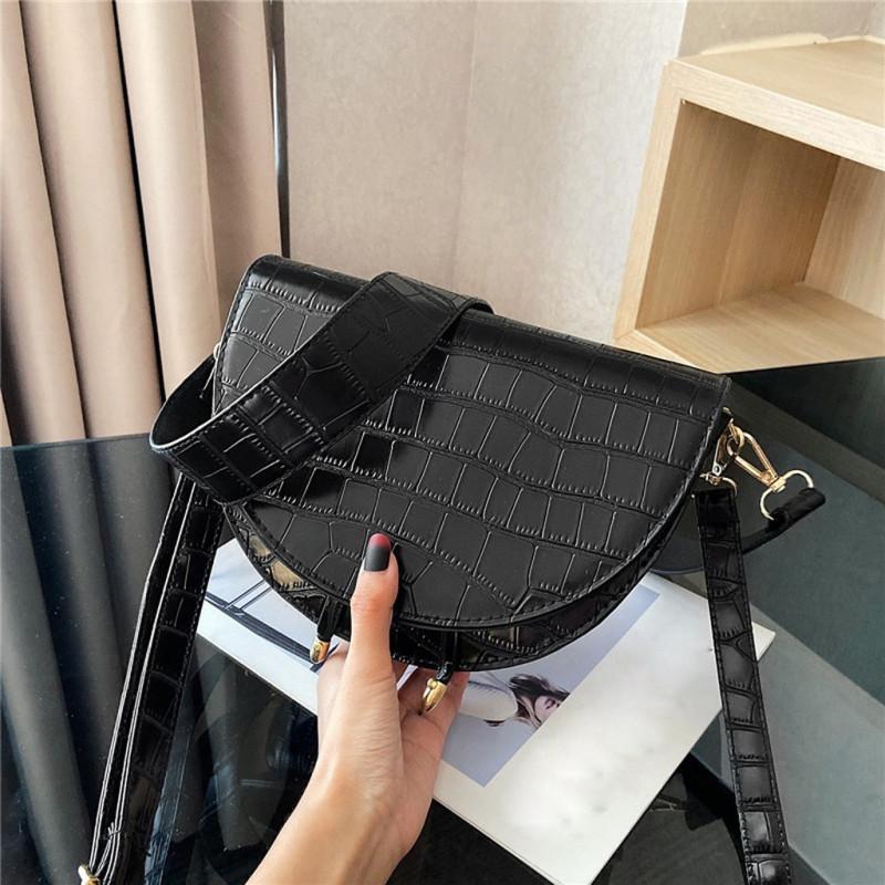 Luxury Crossbody Round Shoulder Bag Bags Messenger Half Pattern Women main PU Leather Crocodile Handbags Bag sac for femme Fhcin