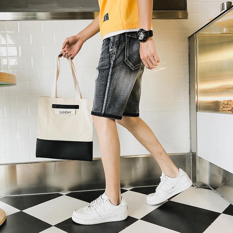 gjhz4 tfO7P 2020 pantalones cortos de estiramiento de verano y media y pantalón de mezclilla quintos pantalones cortos de los hombres jóvenes estiramiento del ajuste delgado ocasional pantalones nuevos hombres