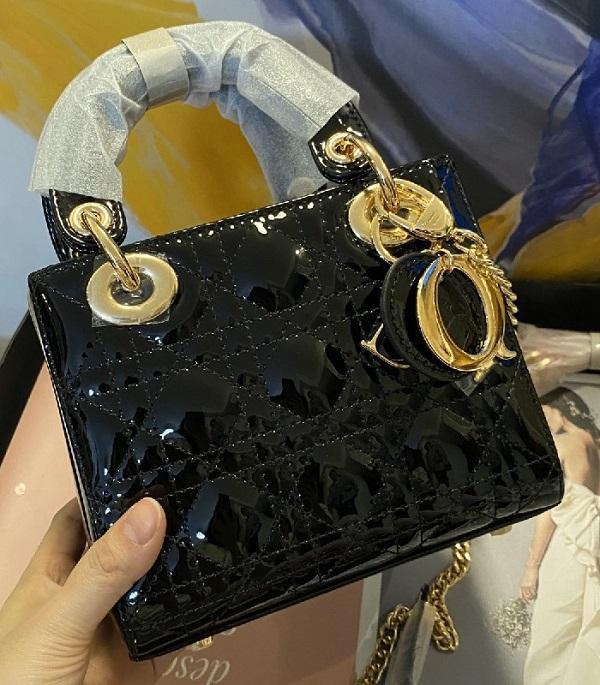 Brand Design di alta qualità verniciata delle donne in pelle di mucca principessa Diana spalla corpo Borsa Moda Messenger Bag Croce retro mini maniglia Pillow Bag