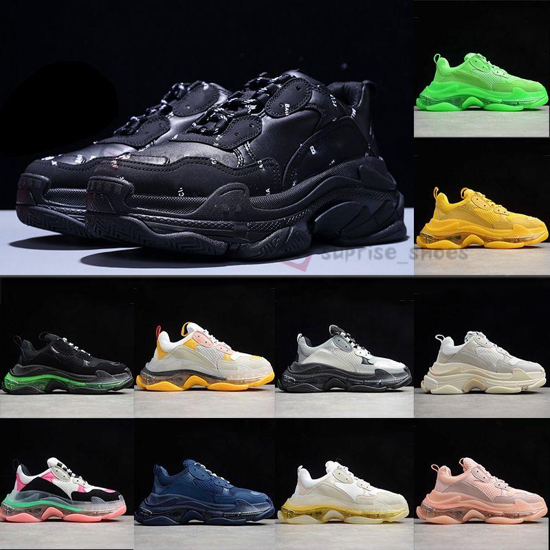 2020 패션 체배기 블랙 레드 트리플 S 플레이트-말해도 스니커즈 럭스 플랫폼 크리스탈 바닥 남성 트레이너 파리 여자를 좋아 루즈 캐주얼 신발