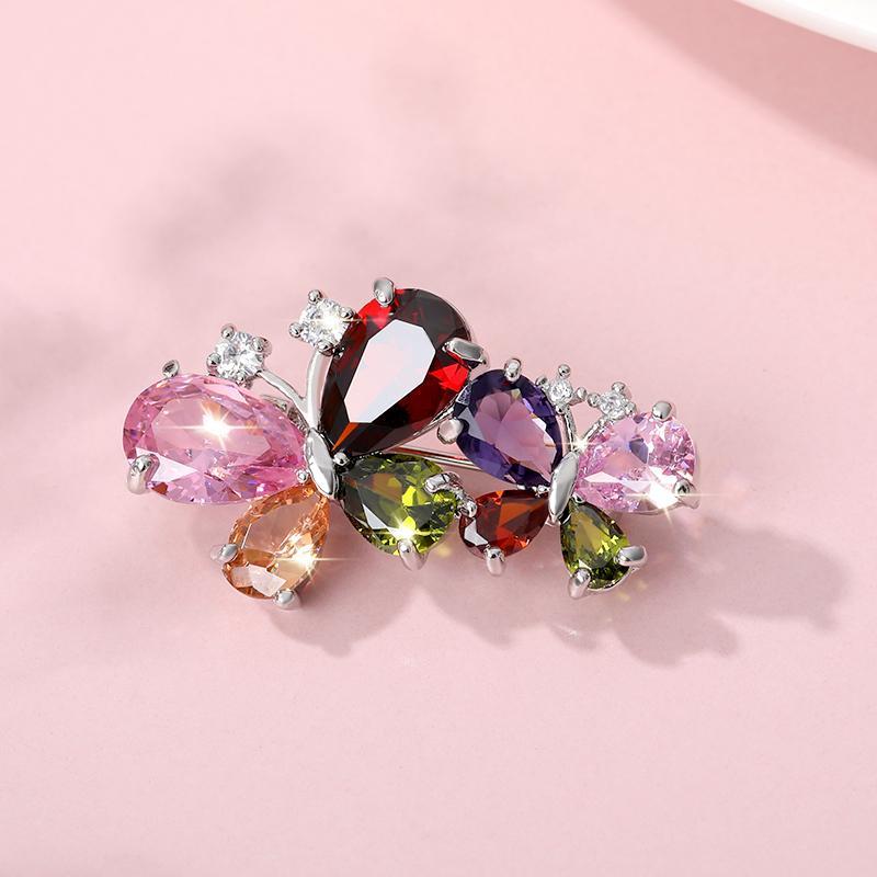 Borboleta de cristal broche requintado borboleta Série Cor Jóias Brasão Skirt Pin Acessórios Holiday Gift Jóias